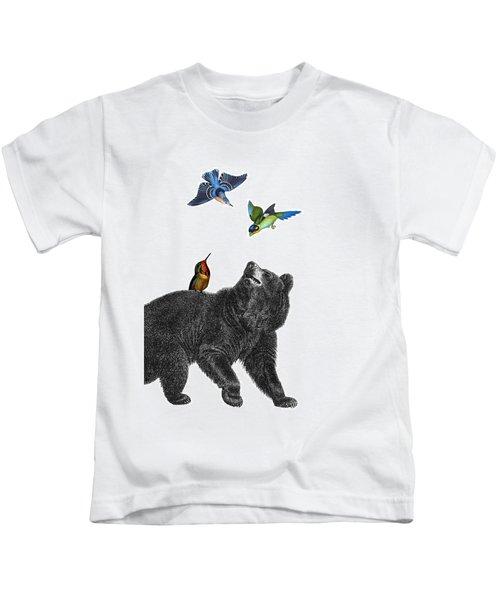 Bear With Birds Antique Illustration Kids T-Shirt