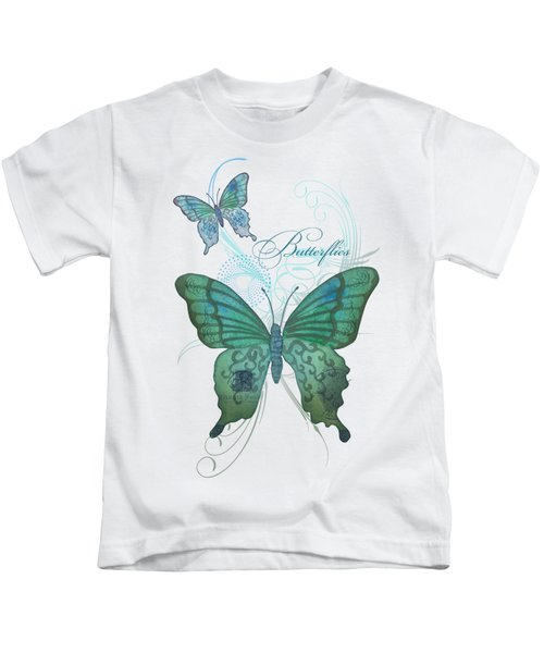 Beautiful Butterflies N Swirls Modern Style Kids T-Shirt by Audrey Jeanne Roberts