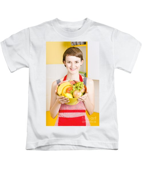 Beautiful Woman With Smile And Fresh Fruit Bowl Kids T-Shirt