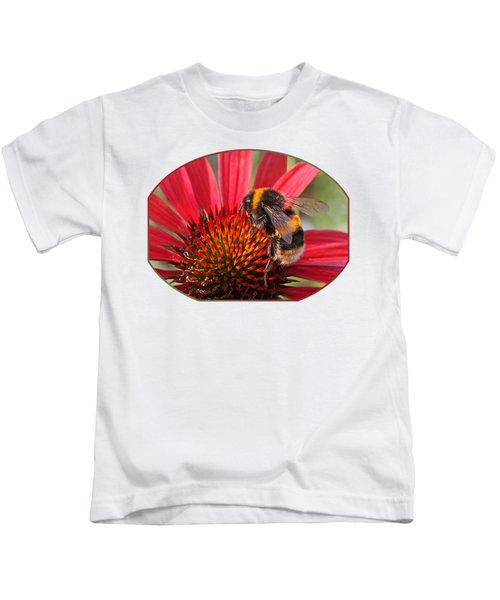 Bee On Red Coneflower 2 Kids T-Shirt