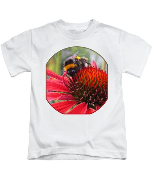 Bee On Red Coneflower Vertical Kids T-Shirt