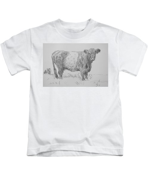 Belted Galloway Cow Pencil Drawing Kids T-Shirt