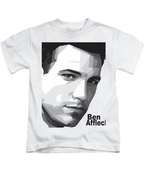 Ben Affleck Portrait Art Kids T-Shirt by Madiaz Roby