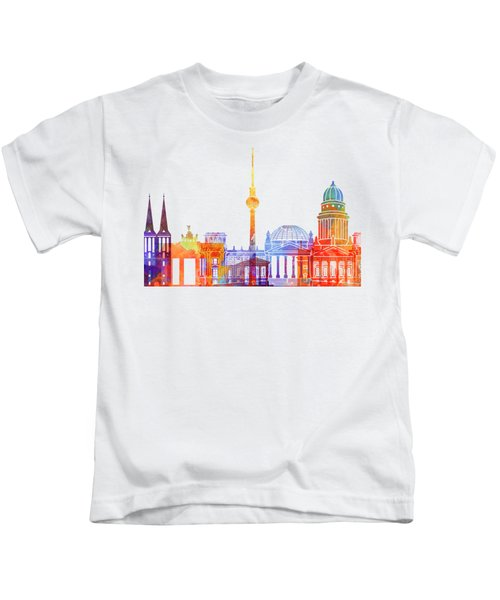 Berlin Landmarks Watercolor Poster Kids T-Shirt by Pablo Romero