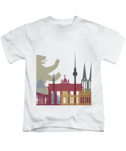 Berlin Skyline Poster Kids T-Shirt by Pablo Romero