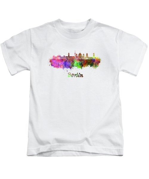Berlin V2 Skyline In Watercolor Kids T-Shirt by Pablo Romero