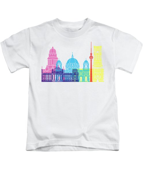 Berlin V2 Skyline Pop Kids T-Shirt by Pablo Romero