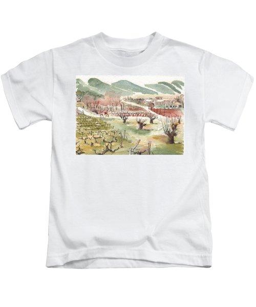Bicycling Through Vineyards Kids T-Shirt