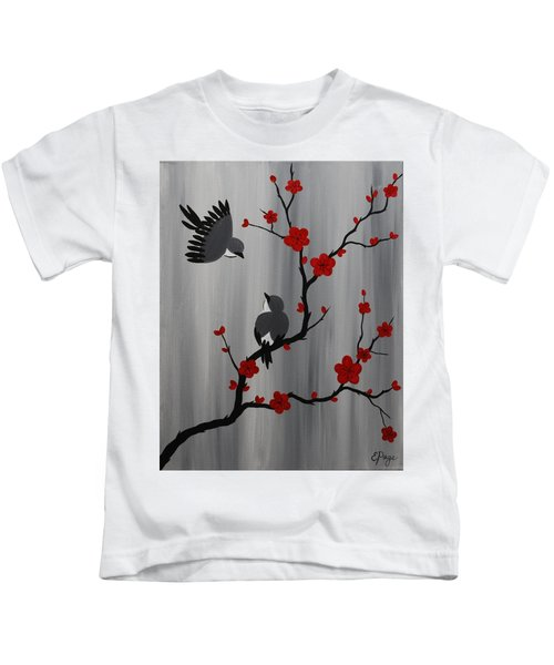 Birds And Blooms In Red Kids T-Shirt