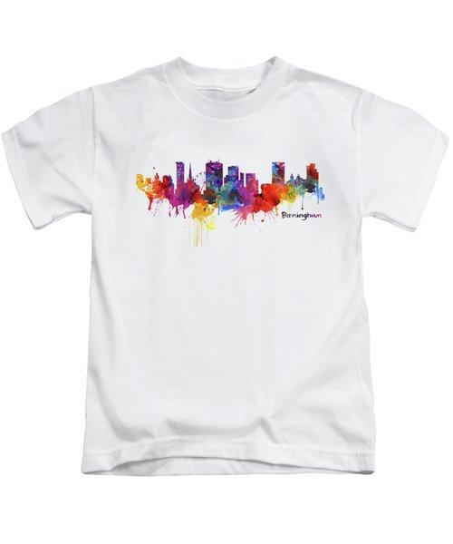 Birmingham Watercolor Skyline Kids T-Shirt