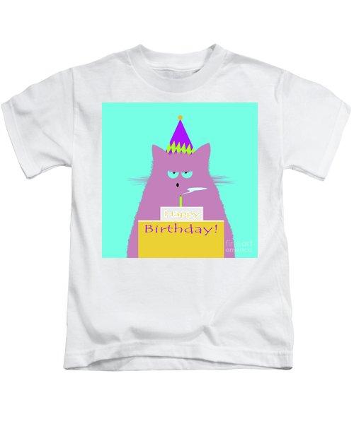 Birthday Lilac Cat Kids T-Shirt