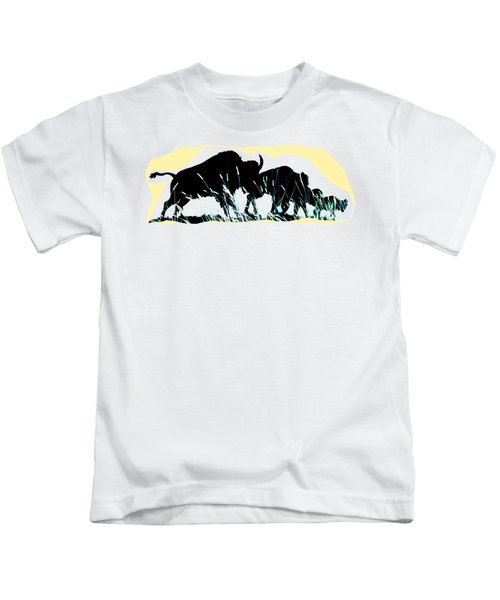 Bison Prairie Run Kids T-Shirt by Aliceann Carlton