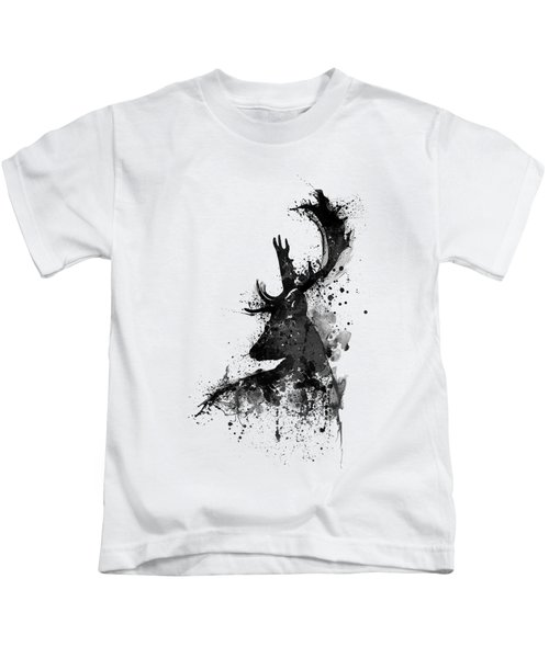 Black And White Deer Head Watercolor Silhouette Kids T-Shirt