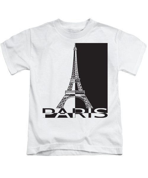 Black And White Eiffel Tower Kids T-Shirt