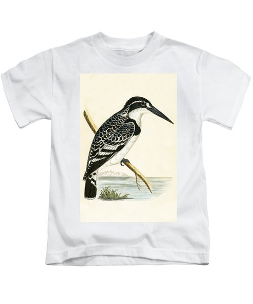 Black And White Kingfisher Kids T-Shirt by English School