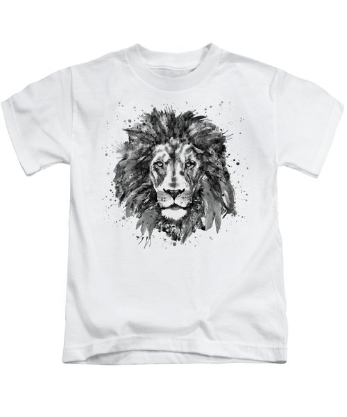 Black And White Lion Head  Kids T-Shirt by Marian Voicu