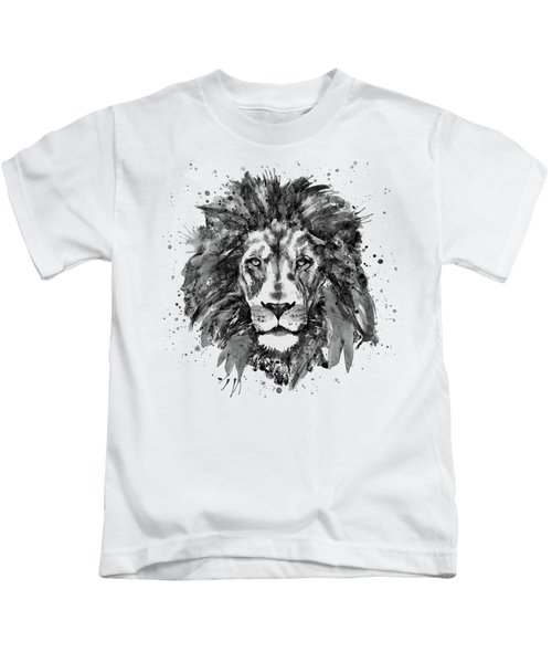 Black And White Lion Head  Kids T-Shirt