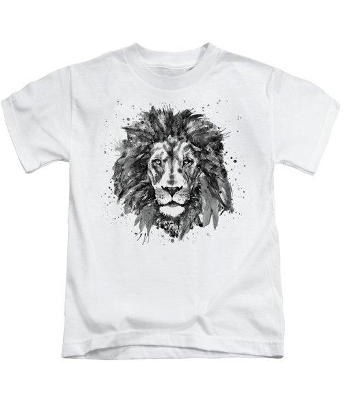 Black And White Lion Head  Kids T-Shirt