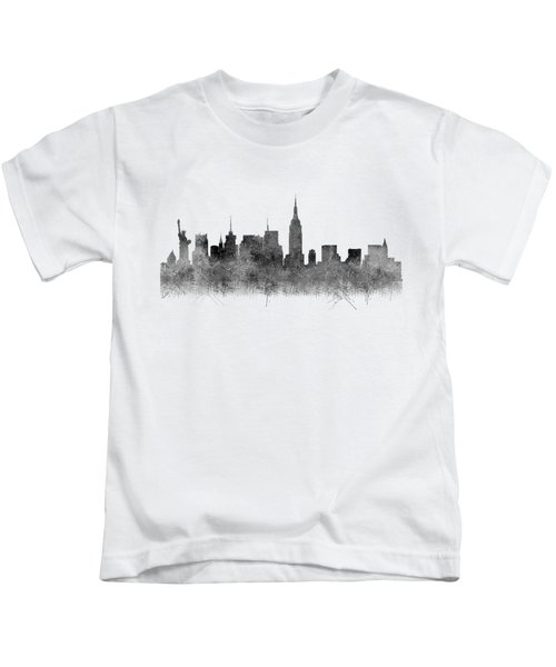 Black And White New York Skylines Splashes And Reflections Kids T-Shirt