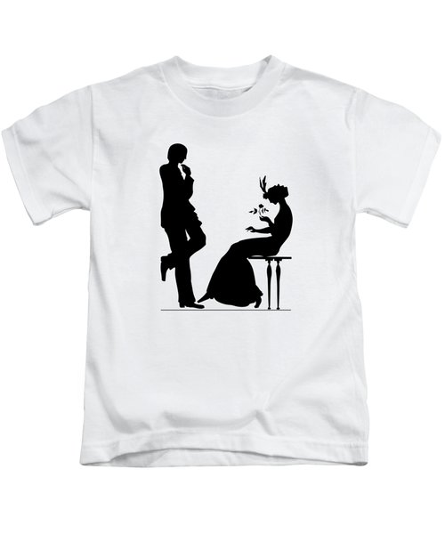 Black And White Silhouette Of A Man Giving A Woman A Flower Kids T-Shirt