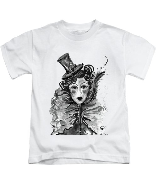 Black And White Watercolor Fashion Illustration Kids T-Shirt