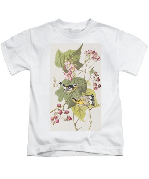 Black And Yellow Warblers Kids T-Shirt by John James Audubon