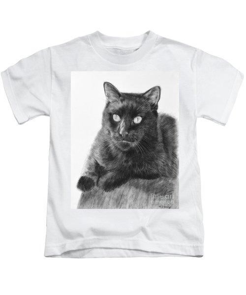 Black Cat Detailed Drawing Kids T-Shirt