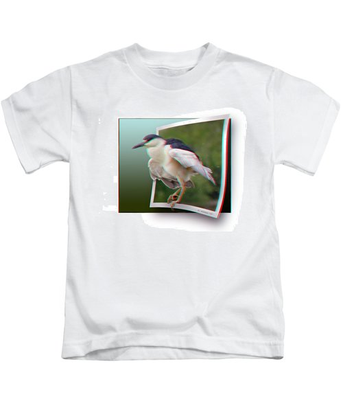 Black Crowned Night Heron - Use Red-cyan 3d Glasses Kids T-Shirt