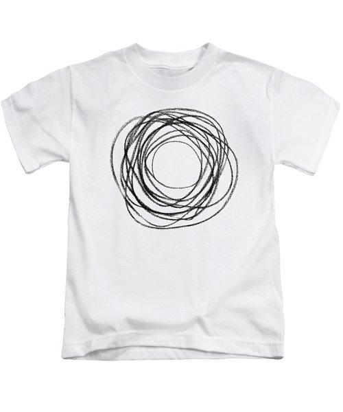 Black Doodle Circular Shape Kids T-Shirt