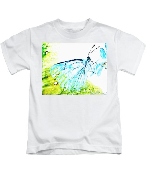 Blue Butterfly On Daisy Alcohol Inks Kids T-Shirt
