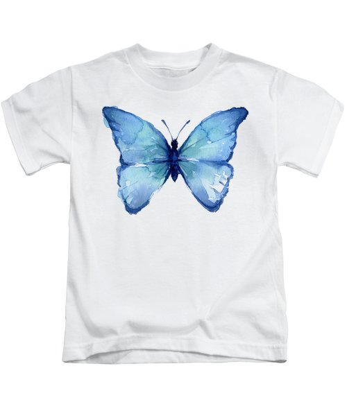 Blue Butterfly Watercolor Kids T-Shirt