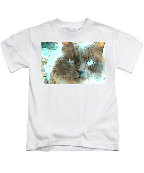 Blue Eyed Persian Cat Watercolor Kids T-Shirt