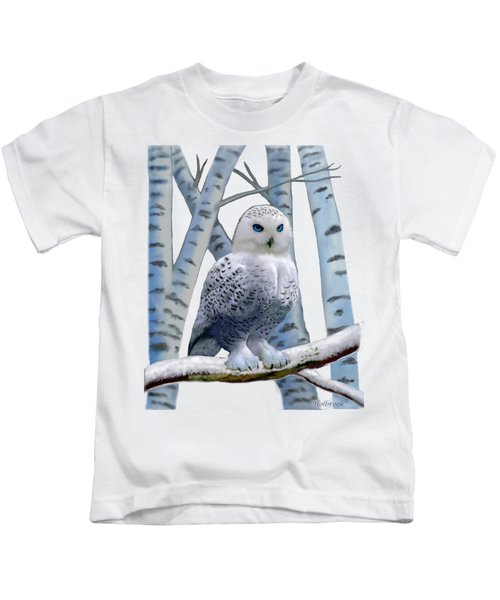 Blue-eyed Snow Owl Kids T-Shirt