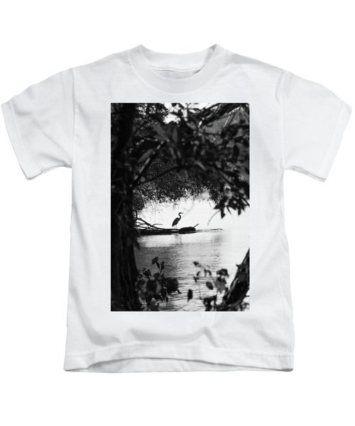 Blue Heron In Black And White. Kids T-Shirt