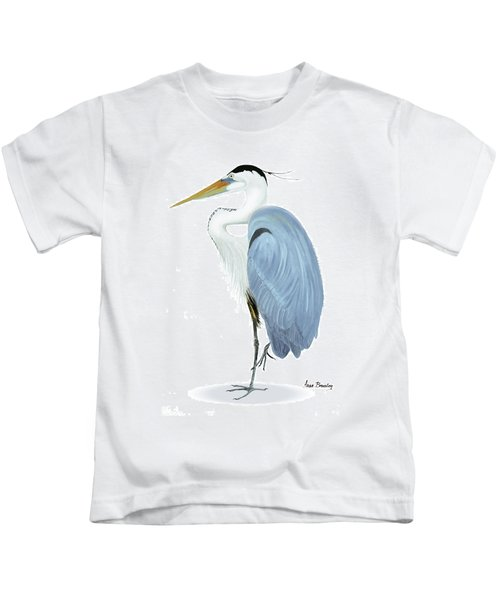 Blue Heron With No Background Kids T-Shirt