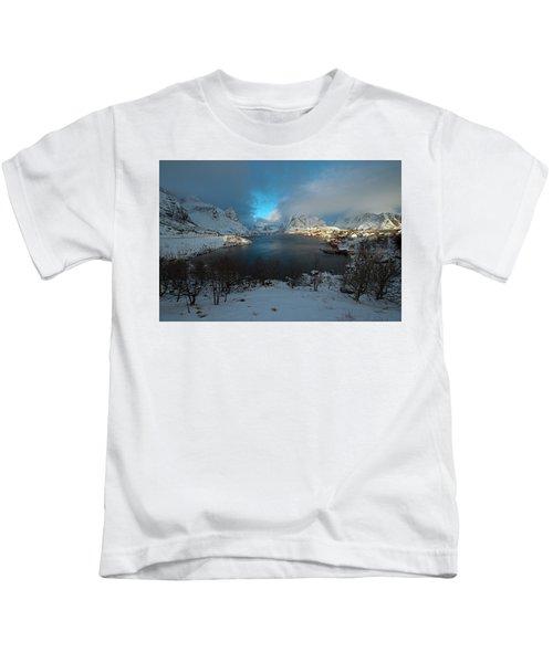 Blue Hour Over Reine Kids T-Shirt