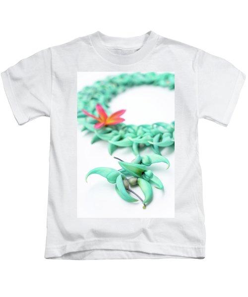 Blue Jade Lei Kids T-Shirt