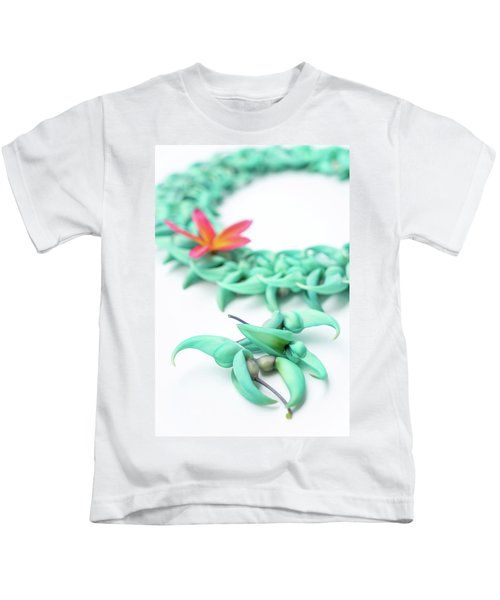 Blue Jade Lei Kids T-Shirt