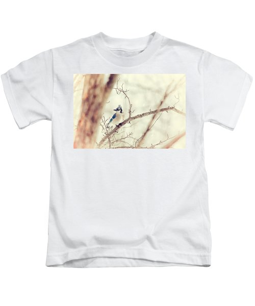 Blue Jay Winter Kids T-Shirt