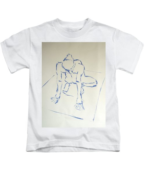 Blue Line Painting Of A Male Nude Kneeling On His Heels And Resting On Hands Which Are Behind Him Kids T-Shirt