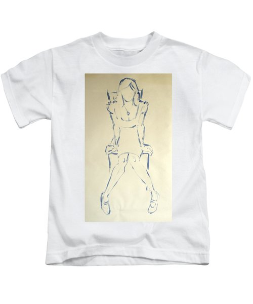 Blue Line Painting Of Woman Sat On Chair With Hands On The Sides Of Her Legs Kids T-Shirt
