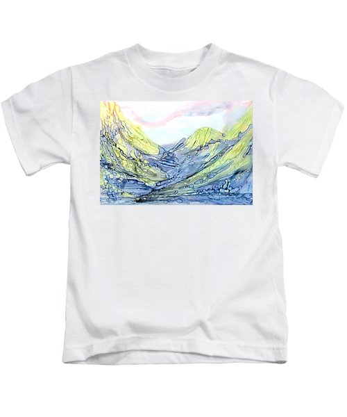 Blue Mountains Alcohol Inks  Kids T-Shirt
