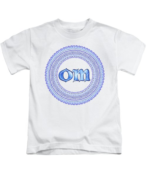 Blue Om Mandala Kids T-Shirt