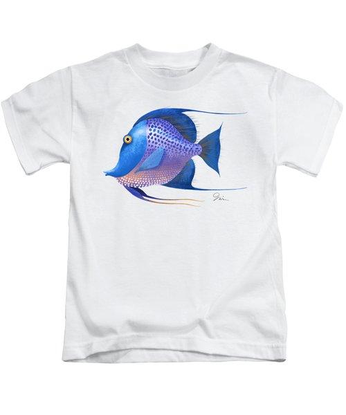 Blue On White Kids T-Shirt