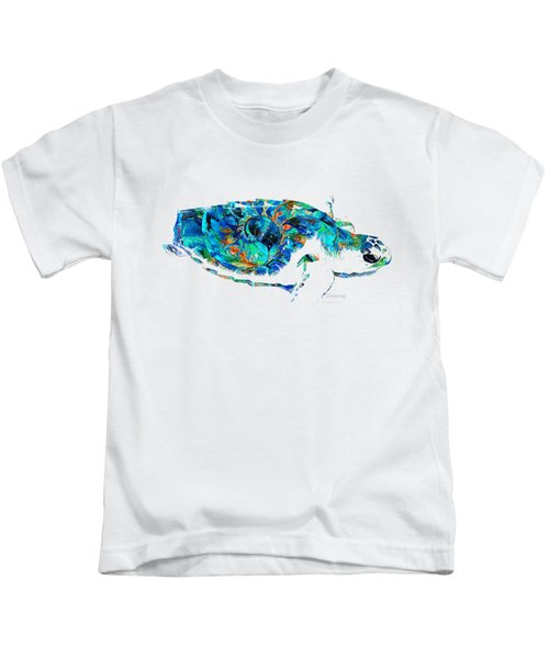 Blue Sea Turtle By Sharon Cummings  Kids T-Shirt