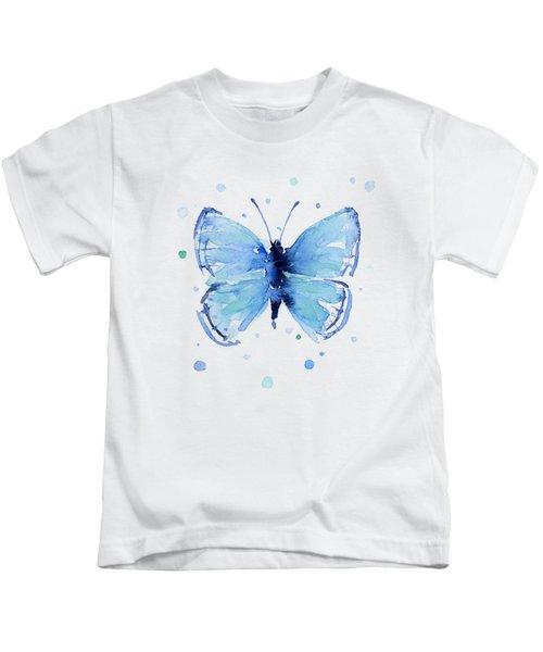 Blue Watercolor Butterfly Kids T-Shirt