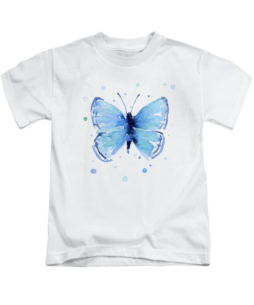 Blue Watercolor Butterfly Kids T-Shirt