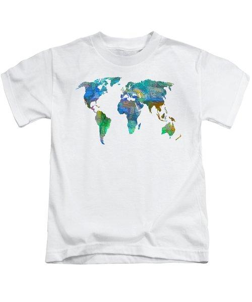 Blue World Transparent Map Kids T-Shirt