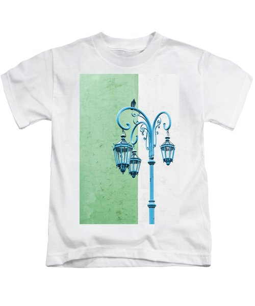 Blue,green And White Kids T-Shirt