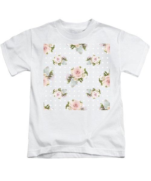 Blush Pink Floral Rose Cluster W Dot Bedding Home Decor Art Kids T-Shirt